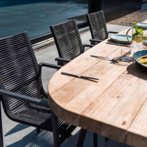 table en teck recycle pied aluminium koh-po honfleur 3